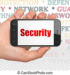 Safety concept: Hand Holding Smartphone with Security on display