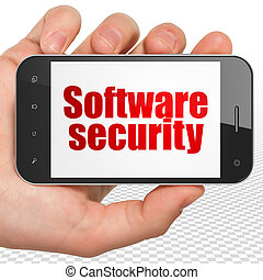 Safety concept: Hand Holding Smartphone with Software Security on display