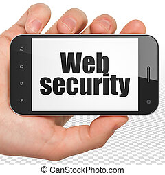 Safety concept: Hand Holding Smartphone with Web Security on display