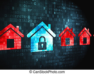 Safety concept: Home on digital background