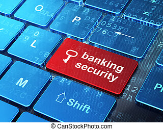Safety concept: Key and Banking Security on computer keyboard background