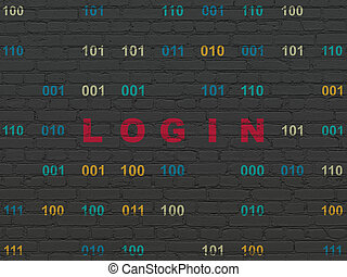Safety concept: Login on wall background