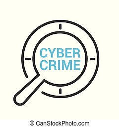 Safety Concept: Magnifying Optical Glass With Words Cyber Crime