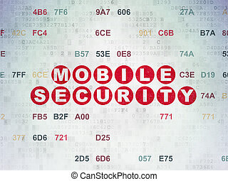 Safety concept: Mobile Security on Digital Paper background