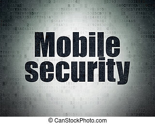 Safety concept: Mobile Security on Digital Data Paper background