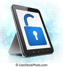 Safety concept: Opened Padlock on tablet pc computer