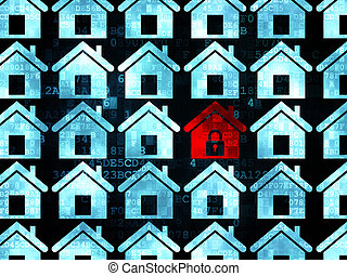 Safety concept: red home icon on Digital background - Safety...