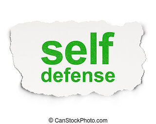 Safety concept: torn paper with words Self Defense on Paper background, 3d render