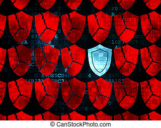 Safety concept: rows of Pixelated red broken shield icons around blue shield icon on Digital background, 3d render