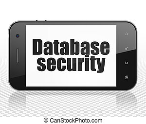 Safety concept: Smartphone with Database Security on display