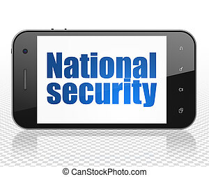 Safety concept: Smartphone with National Security on display