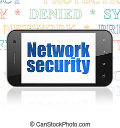 Safety concept: Smartphone with Network Security on display