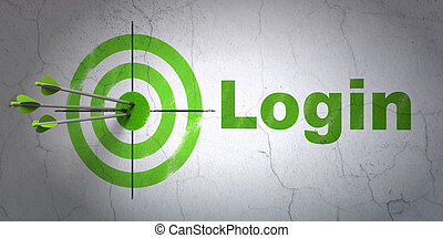 Safety concept: target and Login on wall background