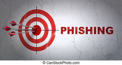 Safety concept: target and Phishing on wall background