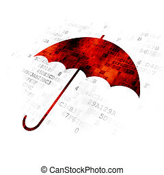 Safety concept: Umbrella on Digital background