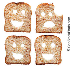 Safety concept with smiling and sad bread slices