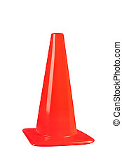 Safety cone - An orange street safety cone isolated on white