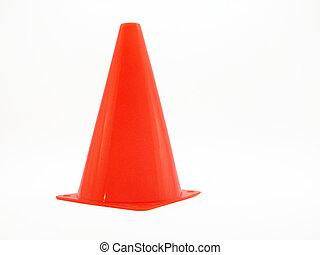 Orange safety cone shot on white.