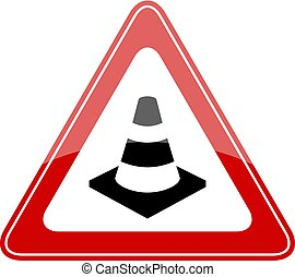 Safety cone red sign