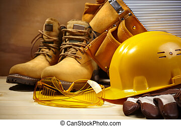 safety construction - industrial concept with tools and ...