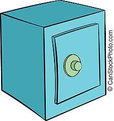 Safety deposit box icon cartoon