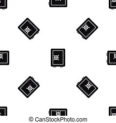 Safety deposit box pattern seamless black