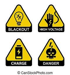 safety., eléctrico, cuidadosamente, iconos, alto, sobre, ...