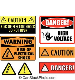 Safety electrical signs - vector