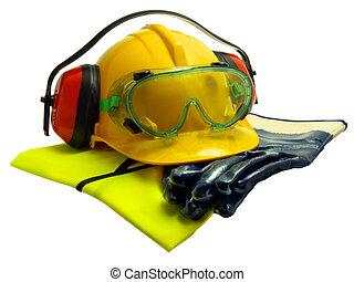Safety equipment - Gloves, luminous vest hard hat ear...