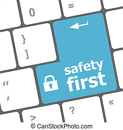 safety first, close up view on conceptual keyboard, Security blue key