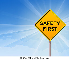 Safety First Danger Sign - Illustration of roadsign on blue ...