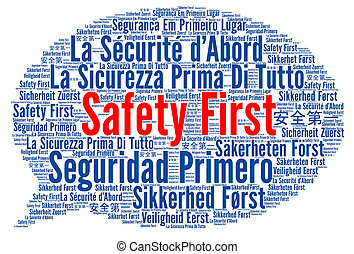 Safety first in different languages word cloud