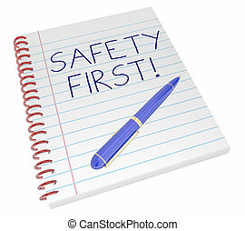 Safety First Notebook Pen Writing Secure Protected 3d Illustration