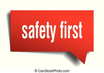 safety first red 3d speech bubble