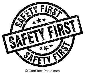 safety first round grunge black stamp