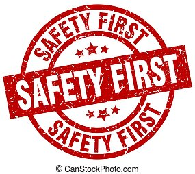 safety first round red grunge stamp