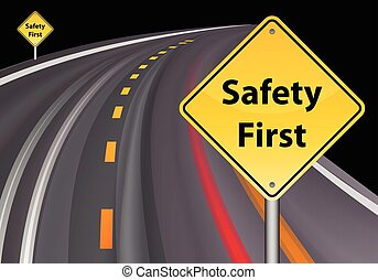 safety first sign, road background vector