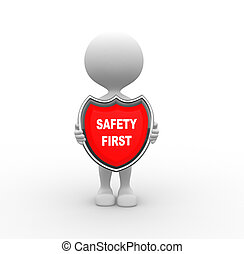 Safety first - 3d people - men, person and a shield. Safety...