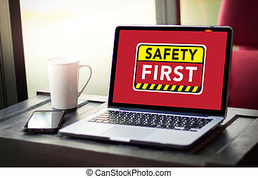 Safety First Warning concect Protect Attention Careful Security Risk