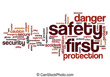 Safety first word cloud concept