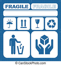 Safety fragile icon set vector for poster