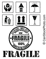 Safety fragile signs and stamp. Vector illustration