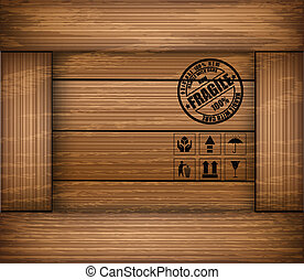 Safety fragile sticker icon on texture wooden box. Vector