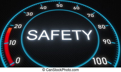 Safety futuristic meter or indicator. Conceptual 3D...