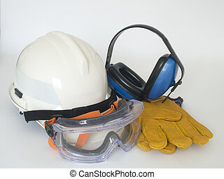 Helmet, gloves, ear defenders and goggles