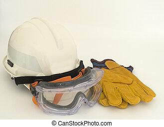 Helmet, goggles, gloves