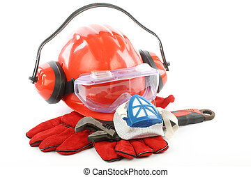 Safety gear kit close up over white