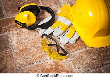 Safety gear kit close up