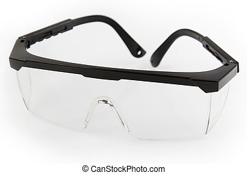 Closeup of pair of safety glasses