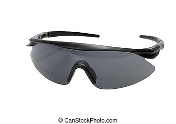 Dark safety glasses isolated on a white background